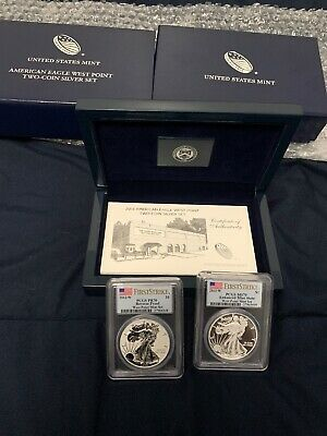 2013-W FIRST STRIKE 2-coin Silver Eagle West Point Set PCGS MS70 PR70