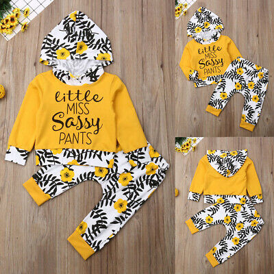 NEW Newborn Infant Baby Boy Girl Kids Cotton Hooded Jumpsuit Tops+Pants Outfit