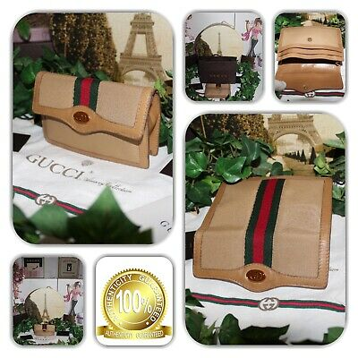 Atypical Gucci Italy Biege With Green & Red Web Stripe Pouch Wallet!