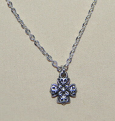 New BRIGHTON Eternity Cross silver CELTIC charm on custom fine link necklace !