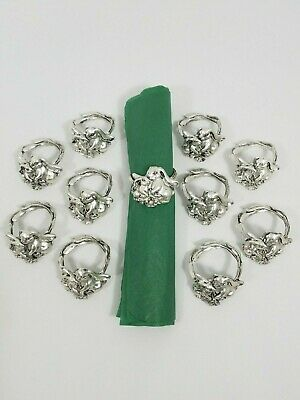 Arthur Court ~ Retired 1995 Bunny Rabbits Floral Napkin Holder Rings ~ Set of 11