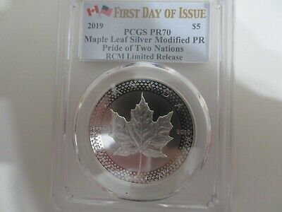 2019 RCM PRIDE OF TWO NATIONS LIMITED ED. MAPLE LEAF Modified PR70 FIRST DAY