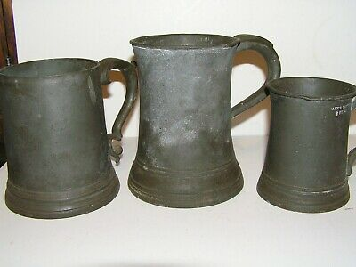 James Yates Antique Pewter Tankards . Ww1 Broad Arrow With  Crown. . Lot Of 3
