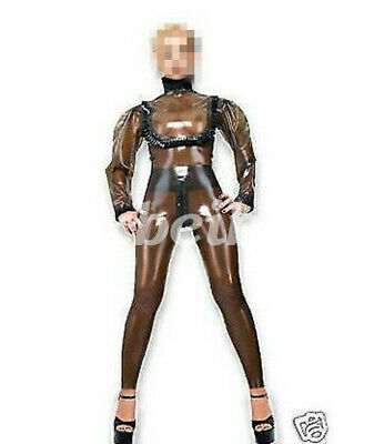Latex Rubber sexy Catsuit Tights fashion Coffee Tight Ruffles Bodysuit 0.4mm