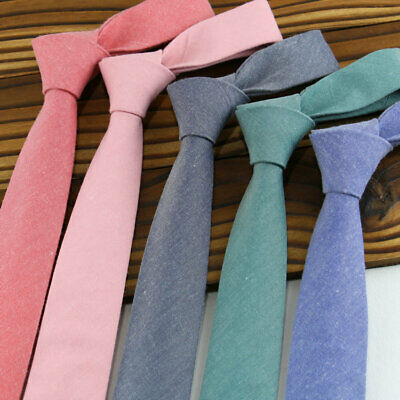 Men Business Skinny Tie Narrow Solid Neck Ties Slim Necktie Formal Party Wedding
