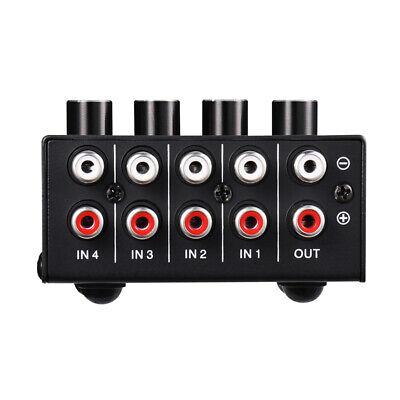 4in 1out Mini 4 channel Stereo Passive Mixer RCA Lossless Audio for Live& Studio