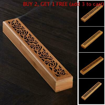 Bamboo Incense Burners Stick Holder Hollow Wooden Aromatherapy Insence Box AU