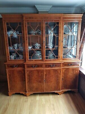 Yew Wood Breakfront Bookcase / Dresser - Inlaid with Yew burr exotic veneer