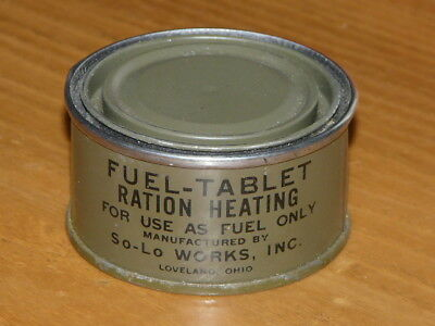 Vintage WW2 Original US Military Army Fuel Tablet Ration Heating Metal Tin Can