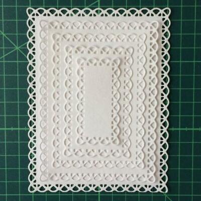 Nested Stitched Scallop Rectangle Frame Metal Cutting Dies DIY Etched Mold Card