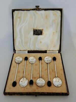 Antique Art Deco 1931 Set of 6 Six Sterling Silver Coffee Bean Teaspoons Spoons
