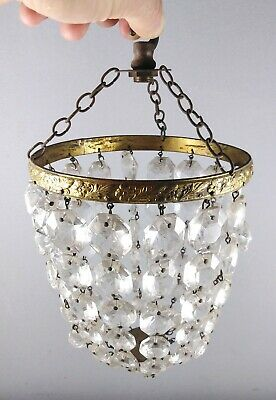 Lovely Antique French glass Crystal Chandelier Ceiling Light