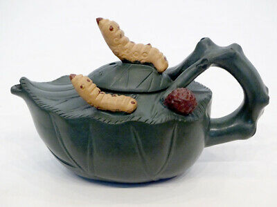 Chinese JIANG MEI ZHEN China Pottery SILKWORM ON MULBERRY Pottery VINTAGE TEAPOT
