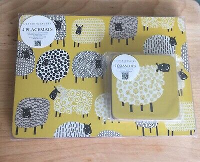 Ulster Weavers Dotty Sheep NEW Placemats & Coasters X4 Cork Back Wipe Clean
