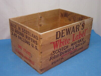 Vintage Wooden DEWAR'S WHITE LABEL SCOTCH WHISKY Crate PEARTH SCOTLAND Advertise