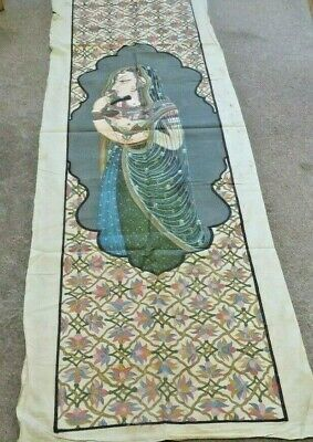 As Seen Vintage  Frameless Picture Of Asian Women In Sari   182 H X 61 Cm W