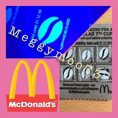 60 X McDonalds Coffee Bean Loyalty Stickers McCafe 31/12/19 expiry date