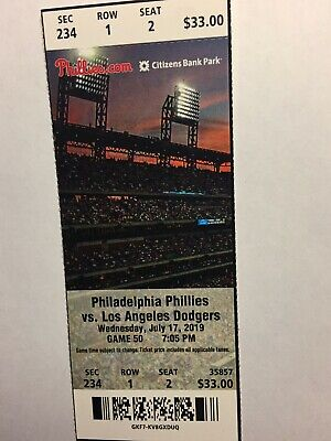 Philadelphia Phillies Vs Los Angeles Dodgers July 17, 2019 Ticket Stub