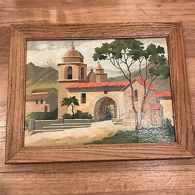 Vintage Paint By Number Spanish Mission In Mountains 1960s 19x15 With Oak Frame