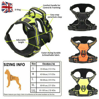 3M Reflective Padded Dog Harness No-pull Pet Vest Handle Outdoor Adventure UK