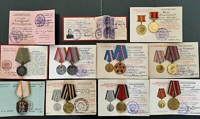 LOT of 9 RUSSIAN SOVIET MEDALS, ORDER BADGE OF HONOR W/DOCUMENTS ONE PERSON