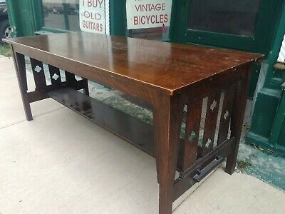 Arts & Crafts Mission Oak Antique Library Table L: 6.5' W 2.5'. Quartersawn