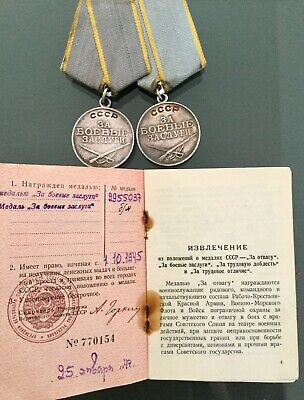 Pare Authentic Ww2 Soviet Double Silver Medal Military Award Russian Ussr Cccp