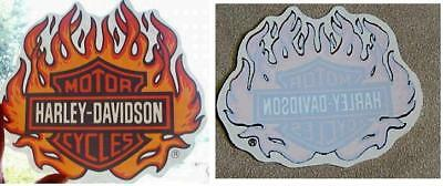 "GENUINE HARLEY DAVIDSON 4"" BAR SHIELD FLAME - Inside Window Decal Sticker"