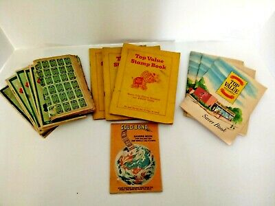 Vintage Collectible S & H Green Top Value Gold Bond Stamps Full Partial Books