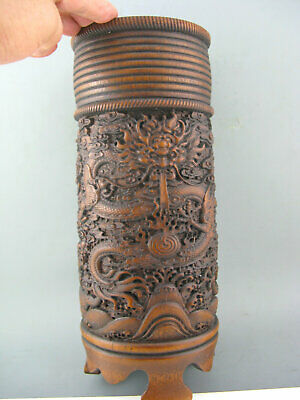"""12"""" Antique Chinese Old Bamboo Hand Carved Dragon Big Brush Pot Statue"""