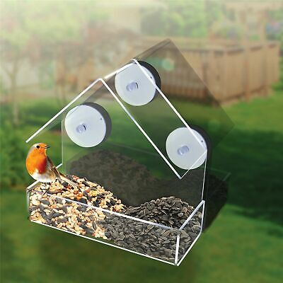 Window Wild Bird Feeder Perspex Clear View Table suction Hanging