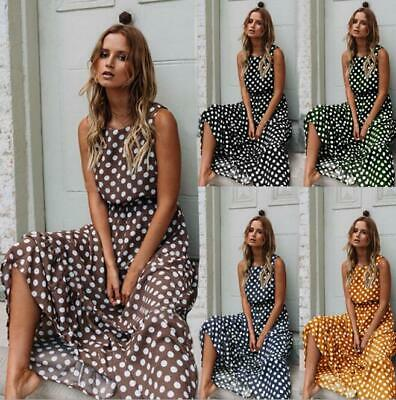 Womens Casual Sleeveless Boho Polka Dot Tunic Long Dress Summer Beach Sundress