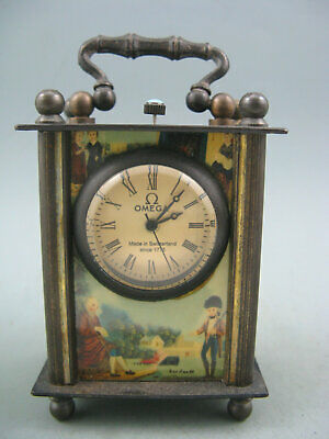 Antiques old copper mechanical movement watch clock Enamel painting-Beautifu