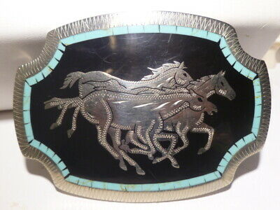 Johnson & Held 3 Horses Inlay Hand Crafted Western Large Belt Buckle