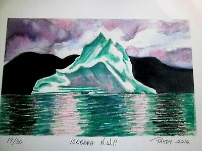 Water Color Print Iceberg N.W.T. Limited Edition S/N  14/30