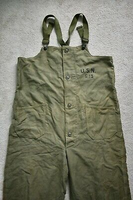 WW2 WWII 1940s US Navy Wool Lined Deck Pants Bib Overalls N-1 USN Military Large