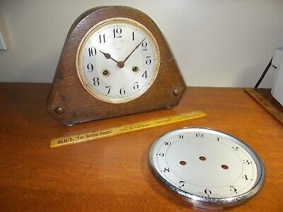 1930's ENFIELD ENGLISH 8 DAY ART DECO TIME/STRIKE MANTEL CLOCK, PARTS OR PROJECT