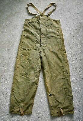 WW2 WWII 1940s US Navy Wool Lined Deck Pants Bib Overalls N-1 USN Military Small