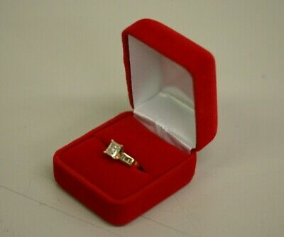 Red Velvet Ring Jewelry Box Case with White Box US Seller Fast Shipping