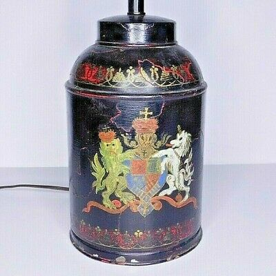 Antique English Coat of Arms Motif Tole Canister/Tea Caddy Lamp Italy Signed Old