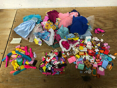 Lot of Barbie Accessories & Clothing Clothes (2.3 POUNDS) - (VINTAGE 1990s)