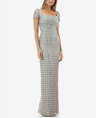 $630 Js Collections Women'S Silver Square Neck Cap Sleeve Formal Dress Size 4