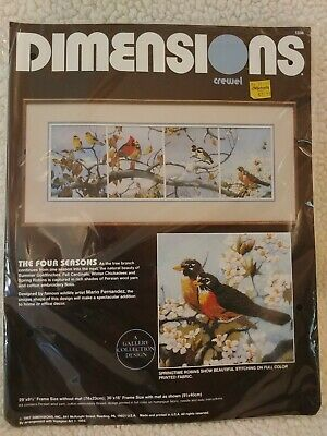 """Vintage Dimensions Crewel Kit, Birds in """"The Four Seasons"""", Gallery Collection"""