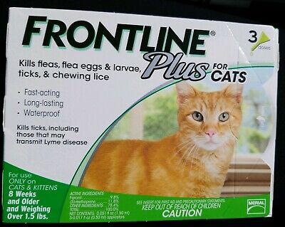 Frontline Plus for Cats - 3 Month - USA / EPA Approved, Flea and Tick Treatment