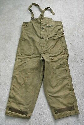 WW2 WWII 1940s US Navy Wool Lined Deck Pants Bib Overalls N-1 USN Military M