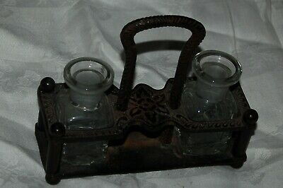 Antique 1800'S Fancy Cast Iron Desk Set With Two Glass Inkwells