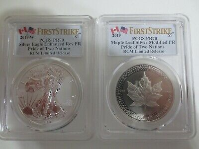 RCM 2019 Pride of Two Nation PCGS PR70 ENHANCED REVERSE EAGLE & MAPLE LEAF F.S.