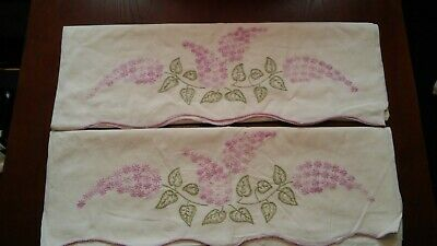 Vintage Pair of Hand Embroidered Purple Lilacs Cotton Pillowcases