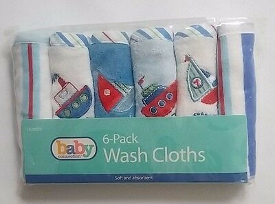 NEW Baby Connection 6-Pack Wash Cloths Soft And Absorbent 9''x9''