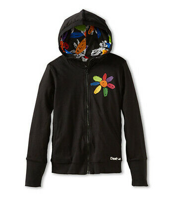 DESIGUAL Girls reversible black daisy hooded zip up top jacket 13/14 yrs